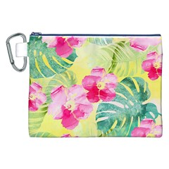 Tropical Dream Hibiscus Pattern Canvas Cosmetic Bag (xxl) by DanaeStudio
