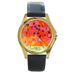 Abstract Watermelon Round Gold Metal Watch by DanaeStudio