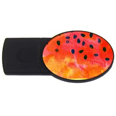 Abstract Watermelon Usb Flash Drive Oval (2 Gb)  by DanaeStudio