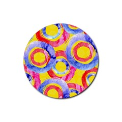 Blue And Pink Dream Rubber Coaster (round)  by DanaeStudio