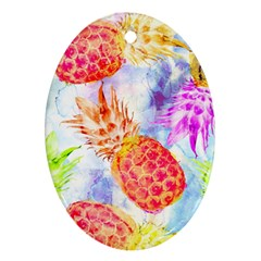 Colorful Pineapples Over A Blue Background Ornament (oval)  by DanaeStudio
