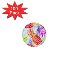 Colorful Pineapples Over A Blue Background 1  Mini Buttons (100 Pack)  by DanaeStudio