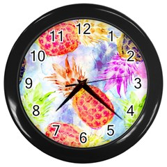 Colorful Pineapples Over A Blue Background Wall Clocks (black) by DanaeStudio