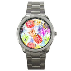 Colorful Pineapples Over A Blue Background Sport Metal Watch by DanaeStudio