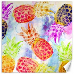 Colorful Pineapples Over A Blue Background Canvas 12  X 12   by DanaeStudio