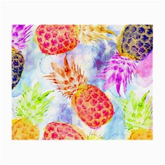 Colorful Pineapples Over A Blue Background Small Glasses Cloth (2 Side) by DanaeStudio