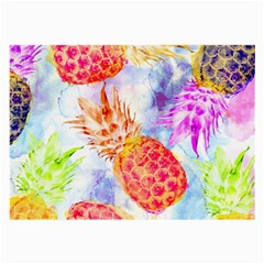 Colorful Pineapples Over A Blue Background Large Glasses Cloth (2 Side) by DanaeStudio
