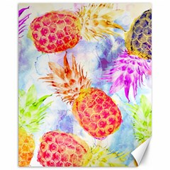 Colorful Pineapples Over A Blue Background Canvas 11  X 14   by DanaeStudio