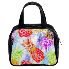 Colorful Pineapples Over A Blue Background Classic Handbags (2 Sides) by DanaeStudio