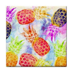 Colorful Pineapples Over A Blue Background Face Towel by DanaeStudio