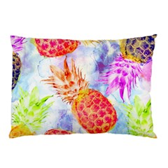 Colorful Pineapples Over A Blue Background Pillow Case by DanaeStudio