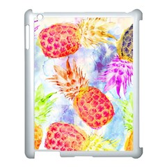 Colorful Pineapples Over A Blue Background Apple Ipad 3/4 Case (white) by DanaeStudio