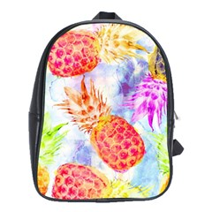 Colorful Pineapples Over A Blue Background School Bags (xl)  by DanaeStudio