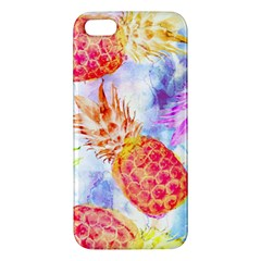 Colorful Pineapples Over A Blue Background Apple Iphone 5 Premium Hardshell Case by DanaeStudio