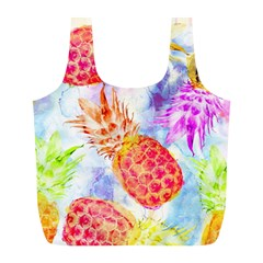 Colorful Pineapples Over A Blue Background Full Print Recycle Bags (l)  by DanaeStudio