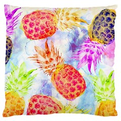 Colorful Pineapples Over A Blue Background Large Flano Cushion Case (two Sides) by DanaeStudio