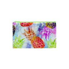 Colorful Pineapples Over A Blue Background Cosmetic Bag (xs) by DanaeStudio