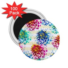 Colorful Dahlias 2 25  Magnets (100 Pack)  by DanaeStudio
