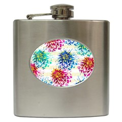 Colorful Dahlias Hip Flask (6 Oz) by DanaeStudio