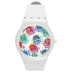 Colorful Dahlias Round Plastic Sport Watch (m) by DanaeStudio