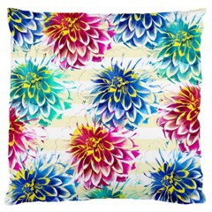Colorful Dahlias Large Cushion Case (two Sides) by DanaeStudio