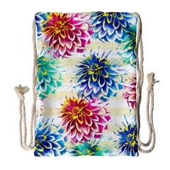 Colorful Dahlias Drawstring Bag (large) by DanaeStudio