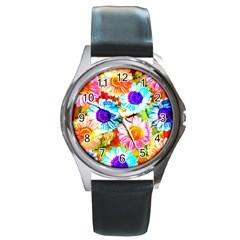 Colorful Daisy Garden Round Metal Watch by DanaeStudio