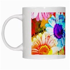 Colorful Daisy Garden White Mugs by DanaeStudio