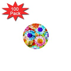 Colorful Daisy Garden 1  Mini Buttons (100 Pack)  by DanaeStudio