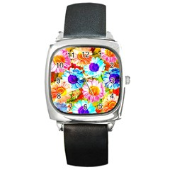 Colorful Daisy Garden Square Metal Watch by DanaeStudio