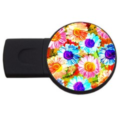 Colorful Daisy Garden Usb Flash Drive Round (4 Gb)  by DanaeStudio