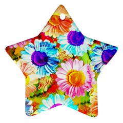 Colorful Daisy Garden Star Ornament (two Sides)  by DanaeStudio