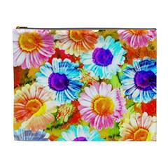 Colorful Daisy Garden Cosmetic Bag (xl) by DanaeStudio