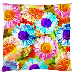 Colorful Daisy Garden Large Cushion Case (two Sides) by DanaeStudio