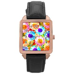 Colorful Daisy Garden Rose Gold Leather Watch  by DanaeStudio