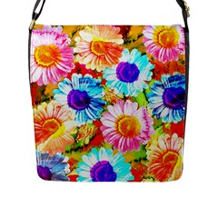 Colorful Daisy Garden Flap Messenger Bag (l)  by DanaeStudio
