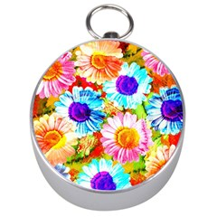 Colorful Daisy Garden Silver Compasses by DanaeStudio