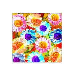 Colorful Daisy Garden Satin Bandana Scarf by DanaeStudio