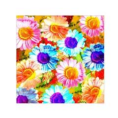 Colorful Daisy Garden Small Satin Scarf (square) by DanaeStudio