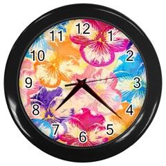 Colorful Pansies Field Wall Clocks (black) by DanaeStudio