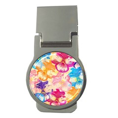 Colorful Pansies Field Money Clips (round)  by DanaeStudio
