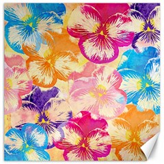 Colorful Pansies Field Canvas 12  X 12   by DanaeStudio