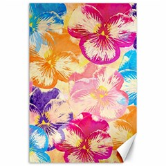 Colorful Pansies Field Canvas 24  X 36  by DanaeStudio