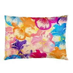 Colorful Pansies Field Pillow Case by DanaeStudio