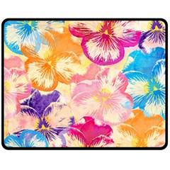 Colorful Pansies Field Fleece Blanket (medium)  by DanaeStudio