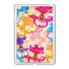 Colorful Pansies Field Apple iPad Mini Case (White) by DanaeStudio