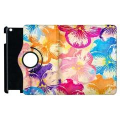 Colorful Pansies Field Apple Ipad 3/4 Flip 360 Case by DanaeStudio