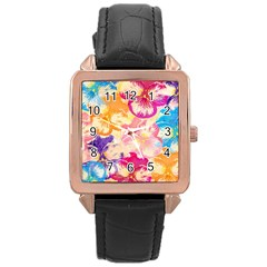 Colorful Pansies Field Rose Gold Leather Watch  by DanaeStudio