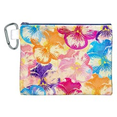 Colorful Pansies Field Canvas Cosmetic Bag (xxl) by DanaeStudio