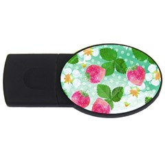 Cute Strawberries Pattern Usb Flash Drive Oval (4 Gb)  by DanaeStudio